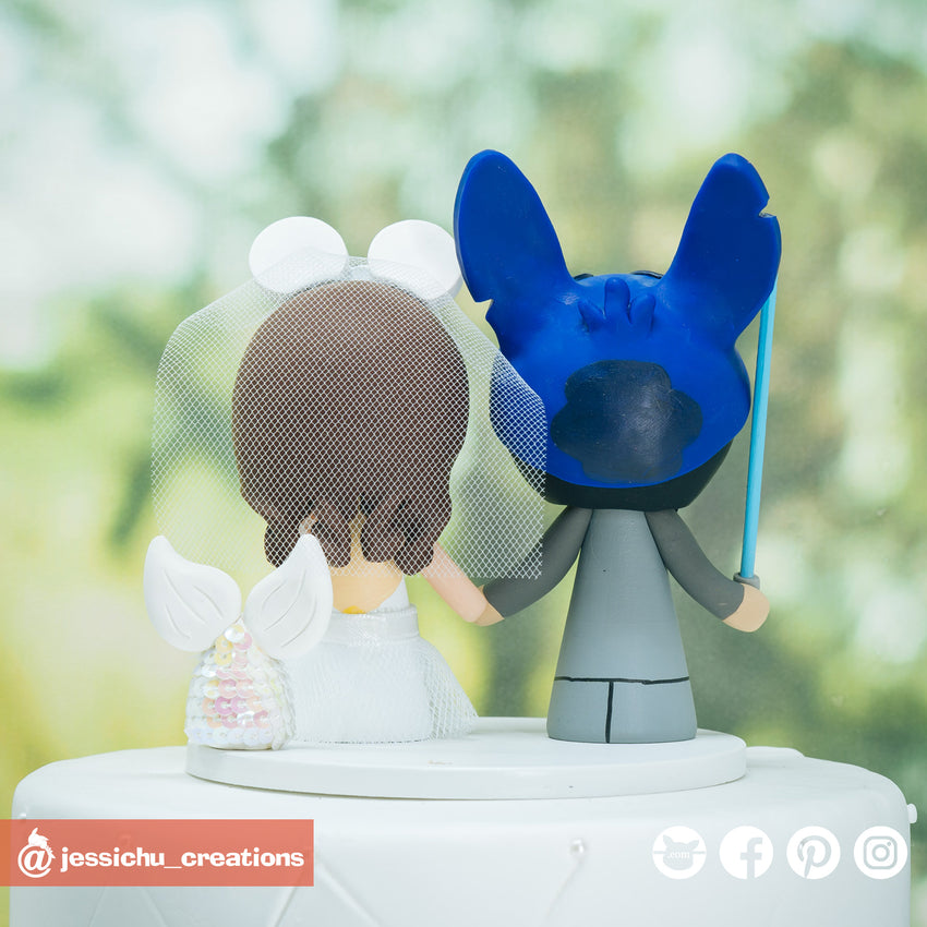 Stitch Groom & Minnie Mermaid Bride Inspired Disney Custom Wedding Cake Topper
