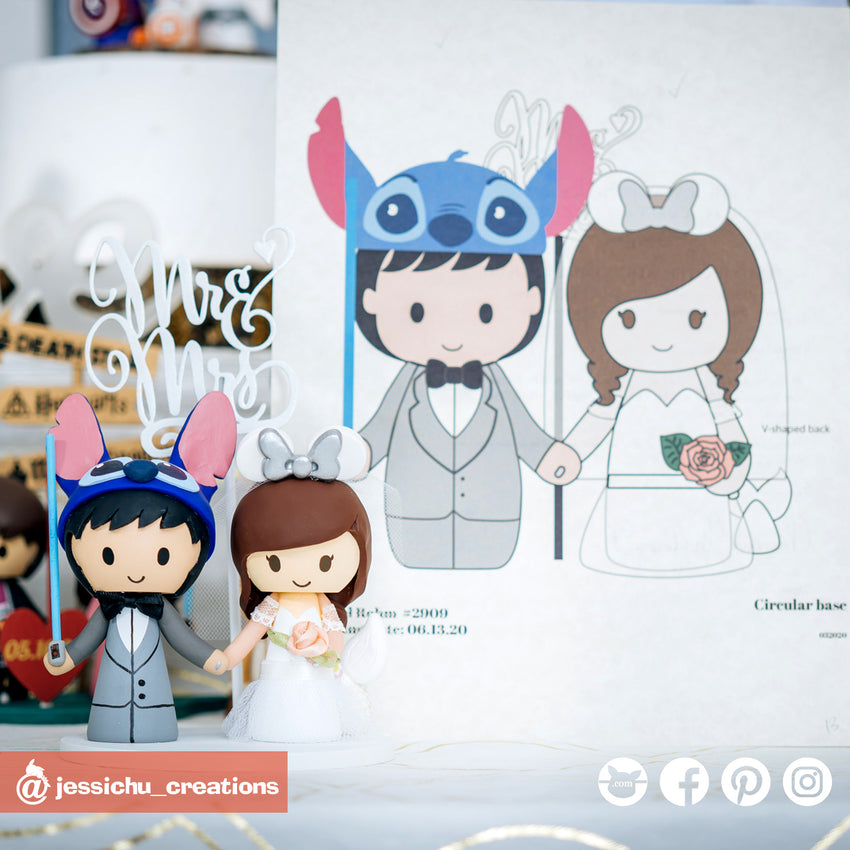 Stitch & Minnie Mermaid | Disney | Custom Handmade Wedding Cake Topper | Jessichu Creations