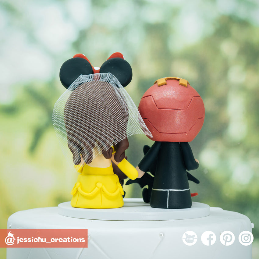 Ironman & Belle Inspired Marvel x Disney Beauty and the Beast Inspired Wedding Cake Topper | Wedding Cake Toppers | Cake Topper Gallery | Jessichu Creations