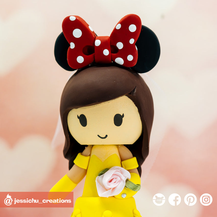 Belle with Minnie Ears | Disney | Custom Handmade Wedding Cake Topper | Jessichu Creations