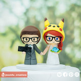 Gamer & Pikachu | Nintendo x Pokemon |Custom Handmade Wedding Cake Topper | Jessichu Creations