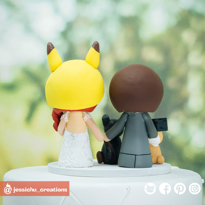 Gamer Groom & Pikachu Bride Inspired Nintendo Pokemon Custom Handmade Wedding Cake Topper