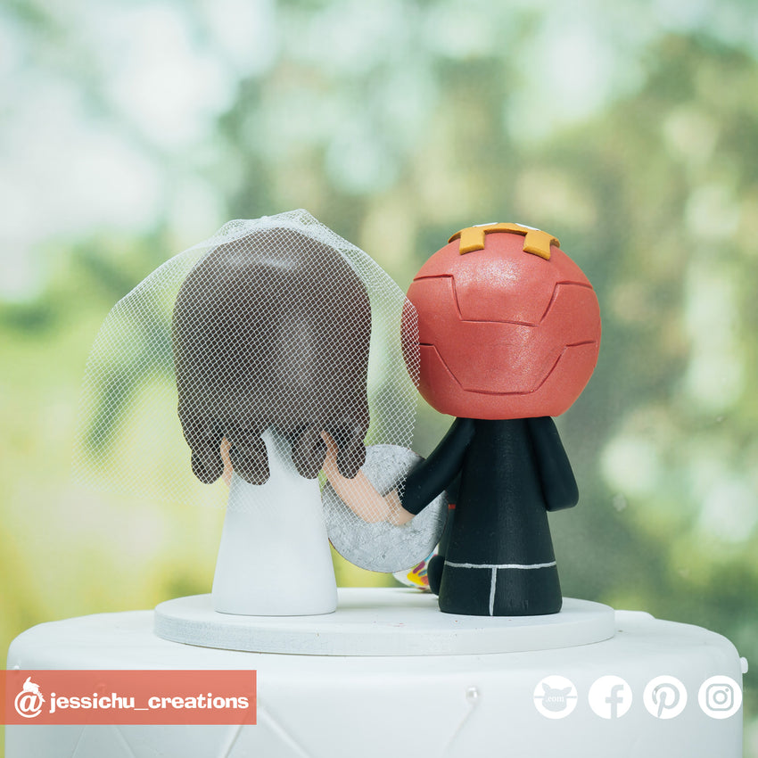 Ironman Groom & Bride Marvel Inspired Custom Handmade Wedding Cake Topper | Wedding Cake Toppers | Cake Topper Gallery | Jessichu Creations