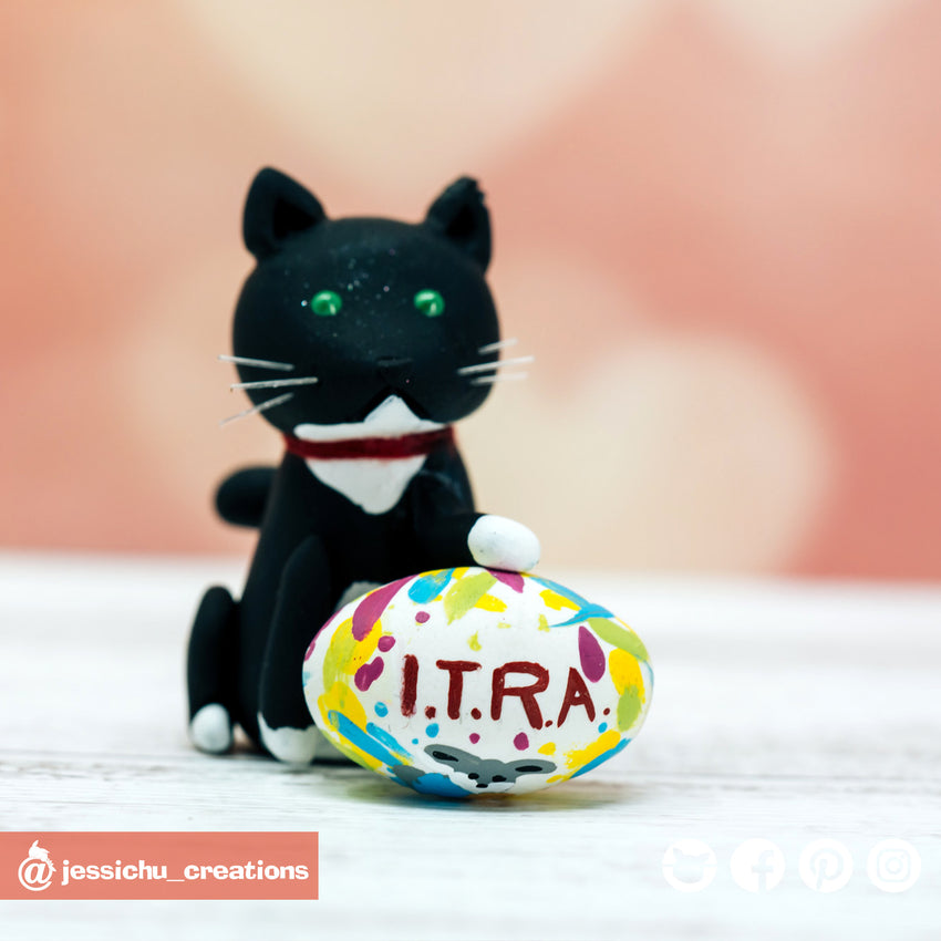 Pet Cat with Rugby Ball | Wedding Cake Topper | Jessichu Creations