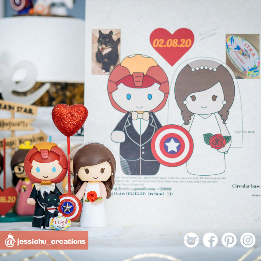 Ironman & Bride | Marvel | Custom Handmade Wedding Cake Topper | Jessichu Creations