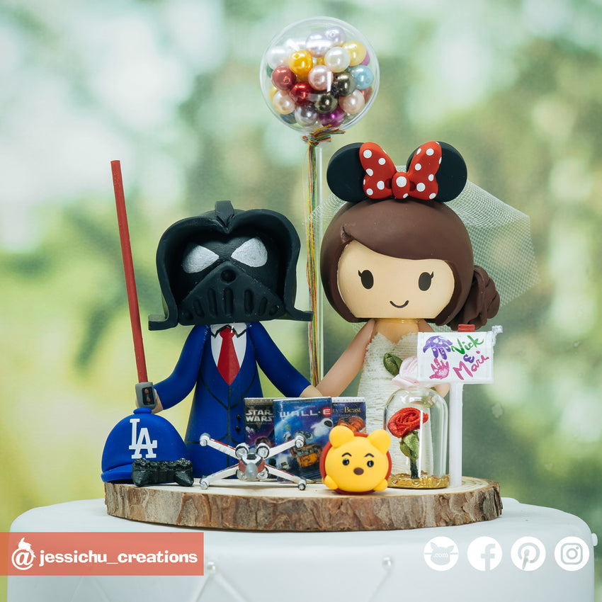 Darth Vader & Minnie | Disney x Star Wars  | Custom Handmade Wedding Cake Topper | Jessichu Creations