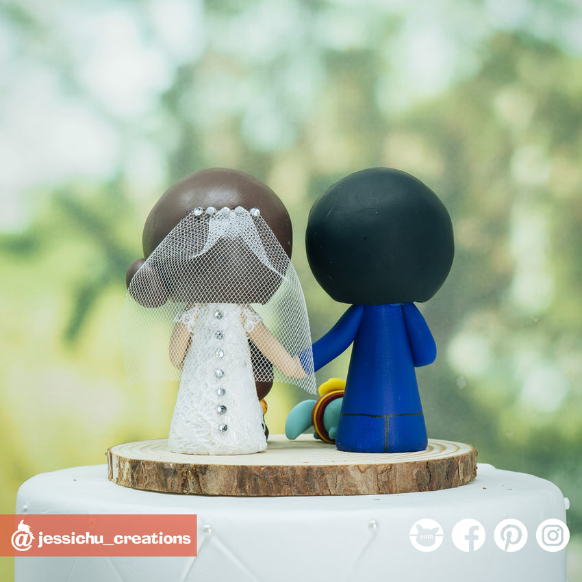 Disney Fan Couple with Dumbo & Woody Inspired Disney x Pixar x Toy Story Inspired Wedding Cake Topper