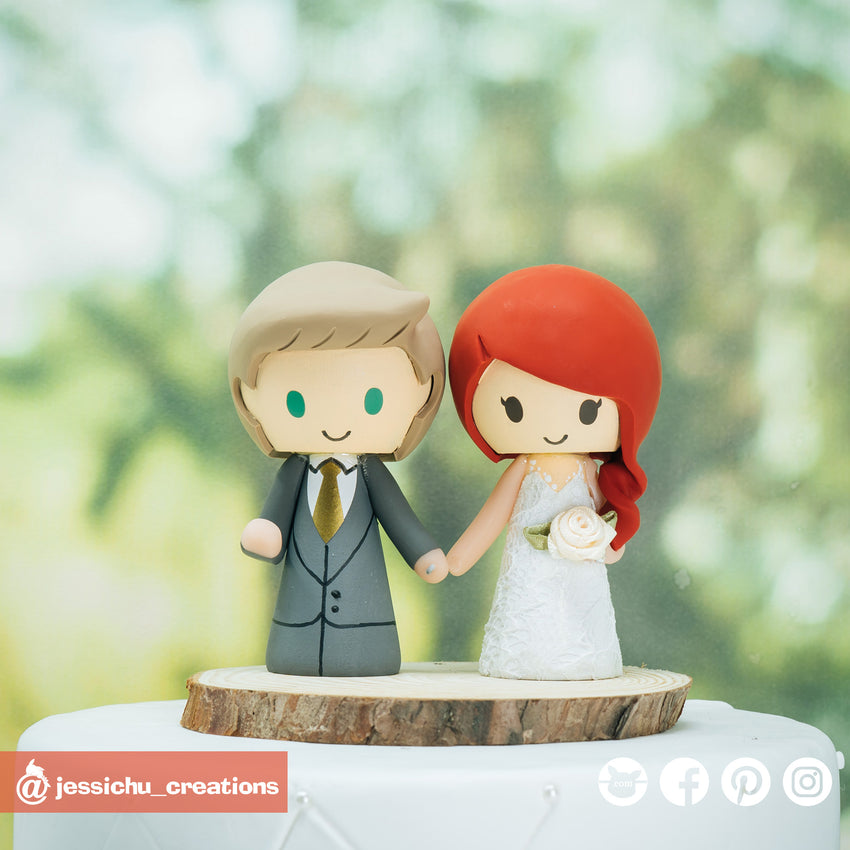 Adorable Couple | Custom Handmade Wedding Cake Topper | Jessichu Creations