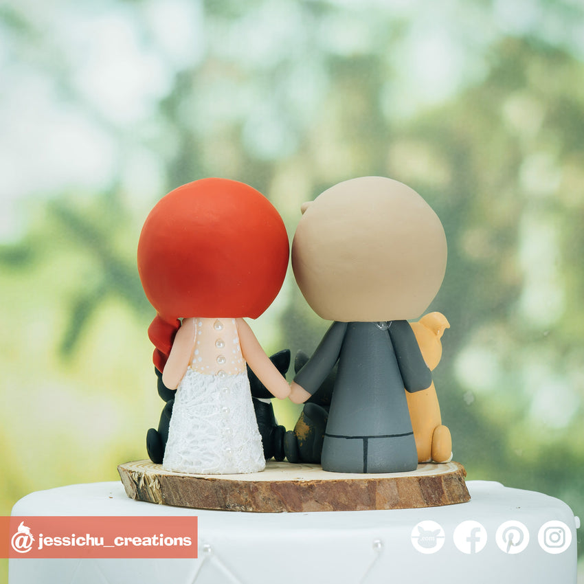 Adorable Couple with Pets Custom Handmade Wedding Cake Topper Figurines