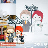 Adorable Couple with Pets | Custom Handmade Wedding Cake Topper | Jessichu Creations
