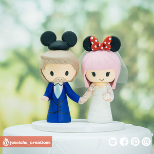 Mickey & Minnie Mouse | Disney | Custom Handmade Wedding Cake Topper | Jessichu Creations