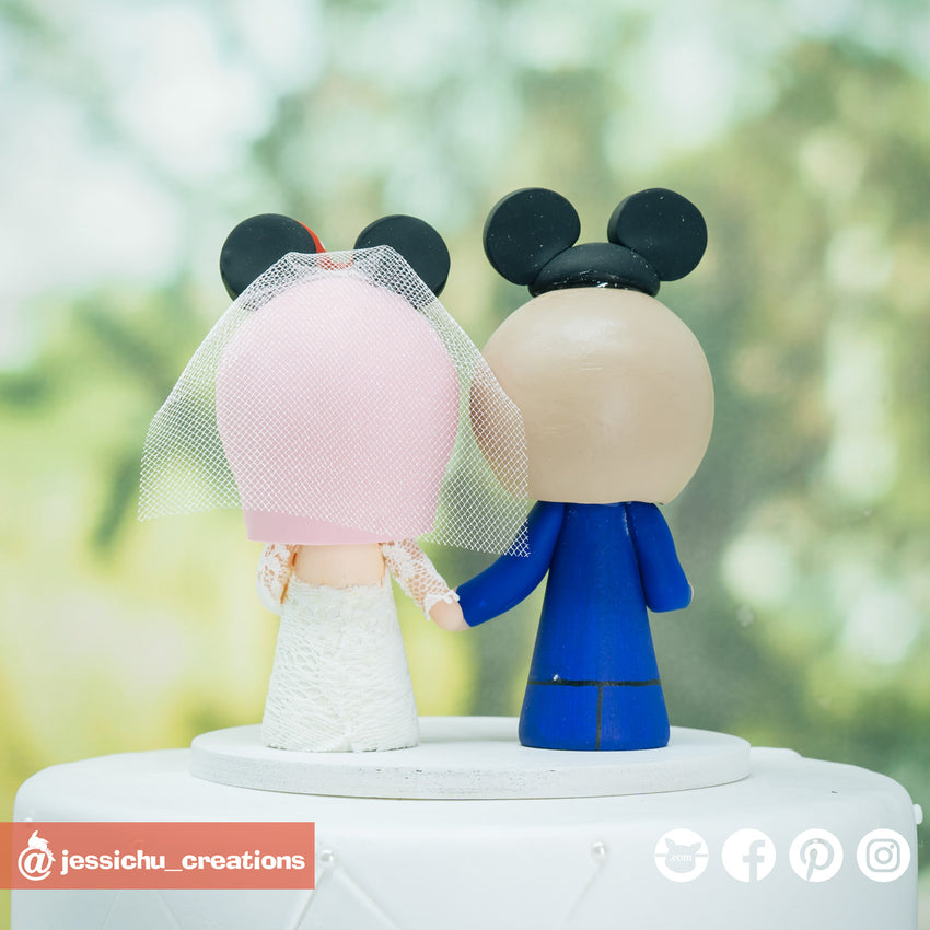 Mickey & Minnie Mouse Disney Inspired Couple Custom Handmade Wedding Cake Topper
