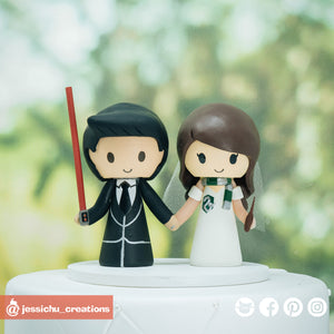Simple Star Wars & Harry Potter Inspired Couple | Custom Handmade Wedding Cake Topper | Jessichu Creations