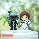 Boba Fett & Stormtrooper | Star Wars | Custom Handmade Wedding Cake Topper | Jessichu Creations