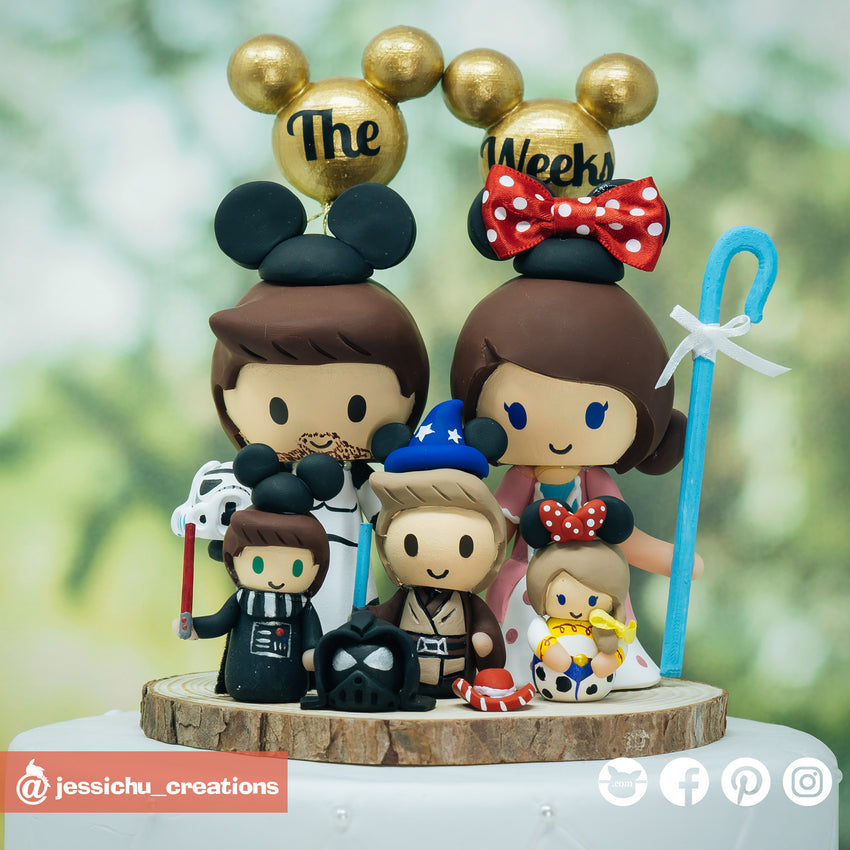Star Wars x Disney Inspired Family | Custom Handmade Wedding Cake Topper | Jessichu Creations
