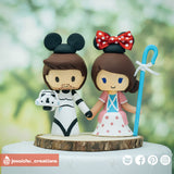 Stormtrooper & Bo Peep | Star Wars x Disney x Toy Story | Custom Handmade Wedding Cake Topper | Jessichu Creations