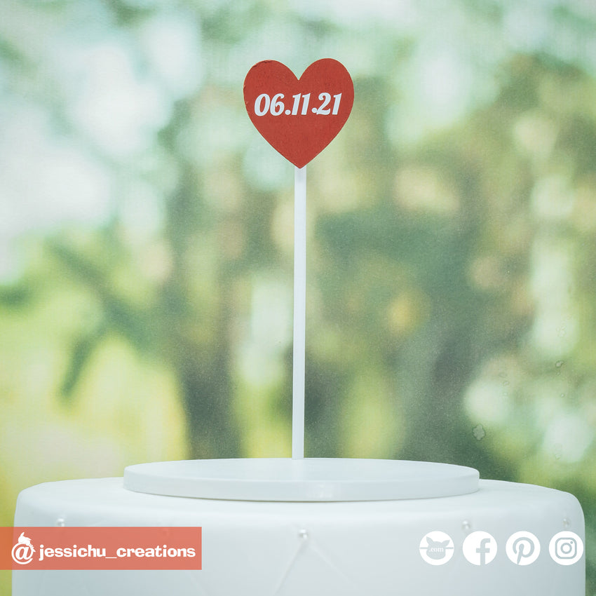 Heart Date Sign | Custom Handmade Wedding Cake Topper Figurines | Jessichu Creations