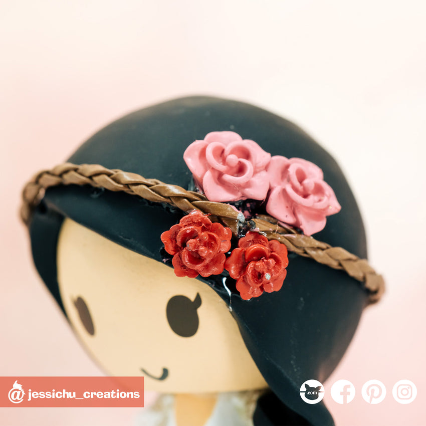 Braided Flower Crown | Accessories | Custom Handmade Wedding Cake Topper Figurines | Jessichu Creations