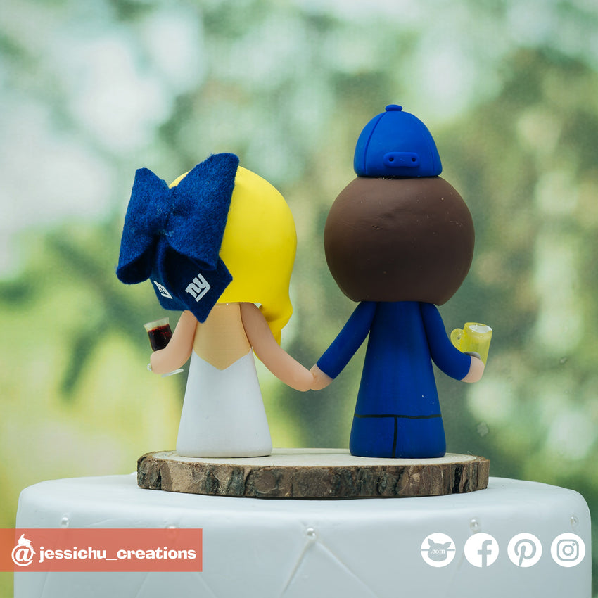 Cubs & Yankees Beer & Wine Lover Couple Custom Handmade Wedding Cake Topper Figurines | Wedding Cake Toppers | Cake Topper Gallery | Jessichu Creations