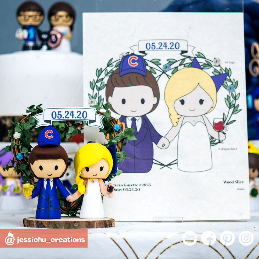 Cubs & Yankees Beer & Wine Lover Couple | Custom Handmade Wedding Cake Topper | Jessichu Creations