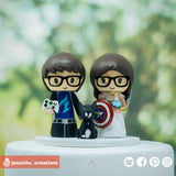 Dallas Fuel Gamer Groom & Captain America Bride Inspired Marvel Custom Handmade Wedding Cake Topper | Wedding Cake Toppers | Cake Topper Gallery | Jessichu Creations