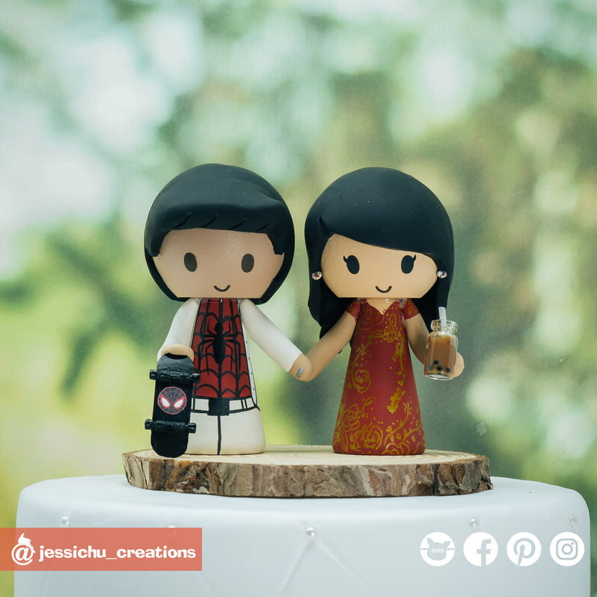 Spiderman & Traditional Chinese Bride Marvel | Custom Handmade Wedding Cake Topper | Jessichu Creations