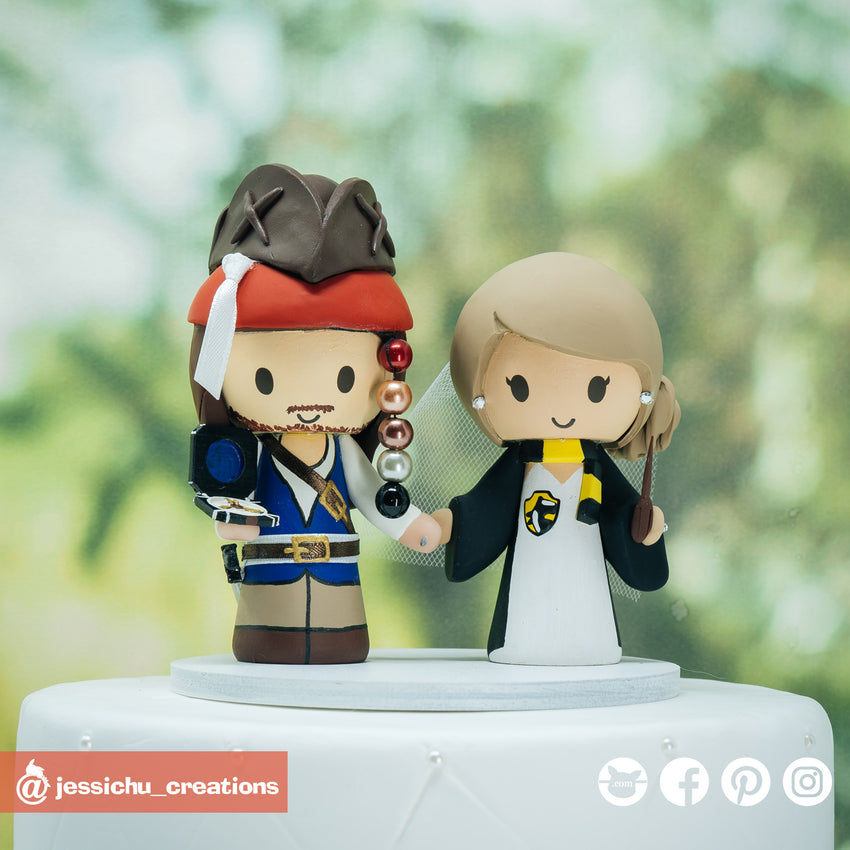 Captain Jack Sparrow & Harry Potter Hufflepuff | Disney x HP | Custom Handmade Wedding Cake Topper | Jessichu Creations