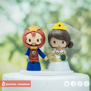 Custom Handmade Wedding Cake Topper | Jessichu CreationsIronman & Wonder Woman | DC x Marvel |