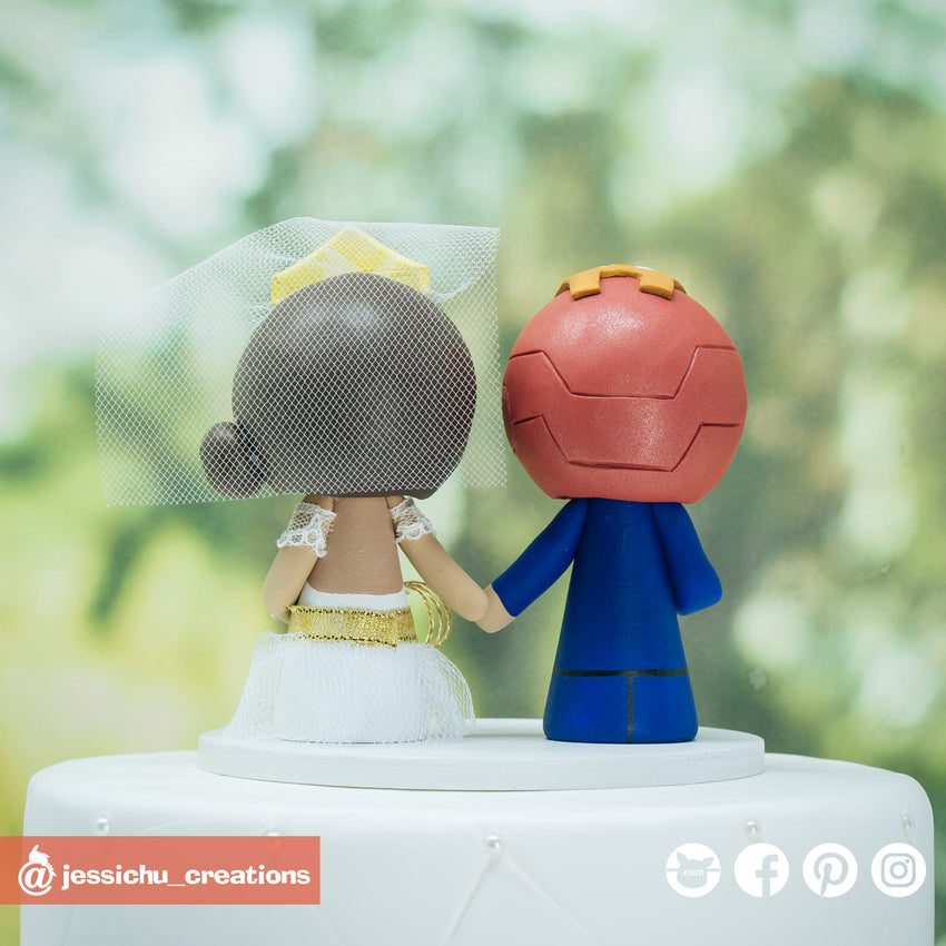 Ironman Groom & Wonder Woman Bride Inspired DC x Marvel Wedding Cake Topper | Wedding Cake Toppers | Cake Topper Gallery | Jessichu Creations