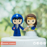 Megaman & Wonder Woman | DC x Sega | Custom Handmade Wedding Cake Topper | Jessichu Creations