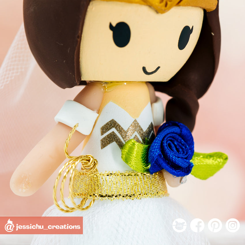 Megaman Groom & Wonder Woman Bride Inspired DC x Sega Wedding Cake Topper | Wedding Cake Toppers | Cake Topper Gallery | Jessichu Creations