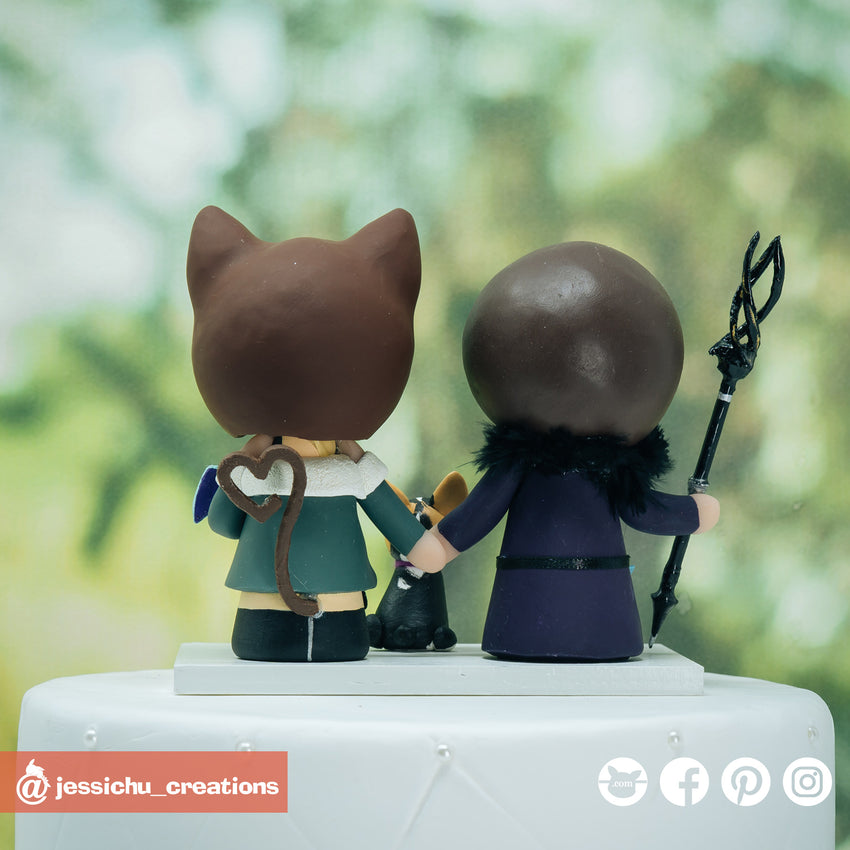 FFXIV Groom & Futaba Sakura Bride Inspired Final Fantasy x Persona 5 Wedding Cake Topper | Wedding Cake Toppers | Cake Topper Gallery | Jessichu Creations