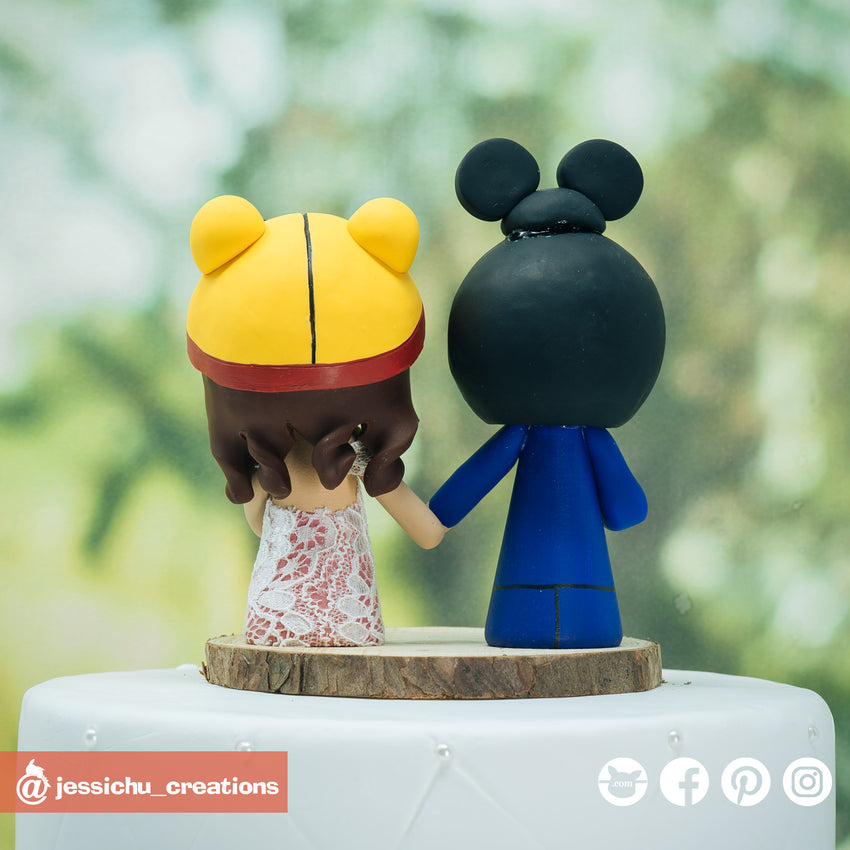 Mickey & Pooh | Disney x Winnie the Pooh | Custom Handmade Wedding Cake Topper | Jessichu Creations
