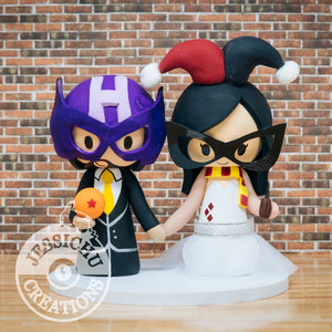 Hawkeye Groom & Harley Quinn Bride - Marvel x DC Inspired Wedding Cake Topper Cake Topper Gallery
