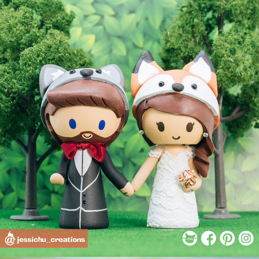 Wolf & Fox Couple | Custom Handmade Wedding Cake Topper Figurines | Jessichu Creations