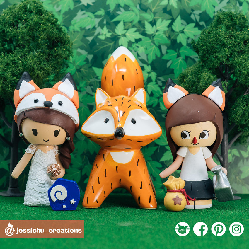 Fox | Custom Handmade Wedding Cake Topper Figurines | Jessichu Creations