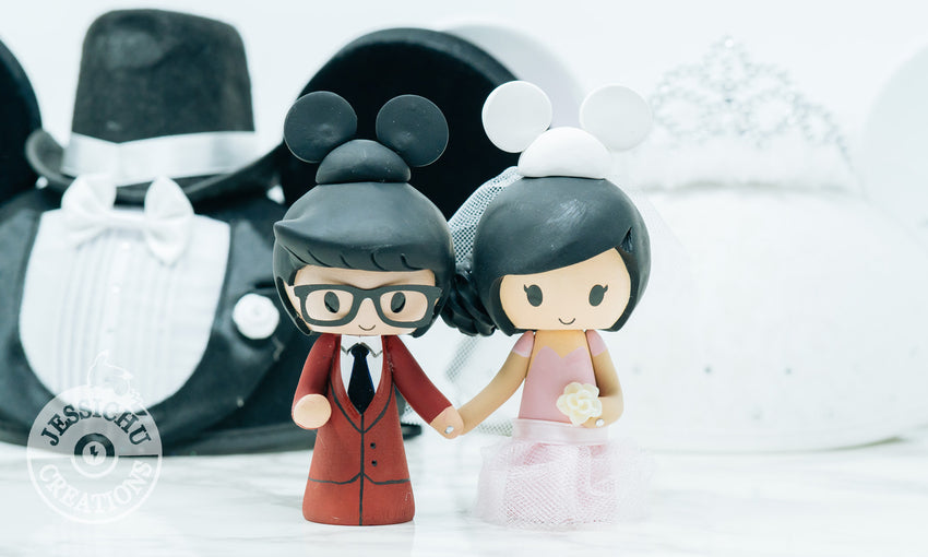 Mickey & Minnie Mouse Custom Handmade Figurine Wedding Cake Topper | Disney | Jessichu Creations.