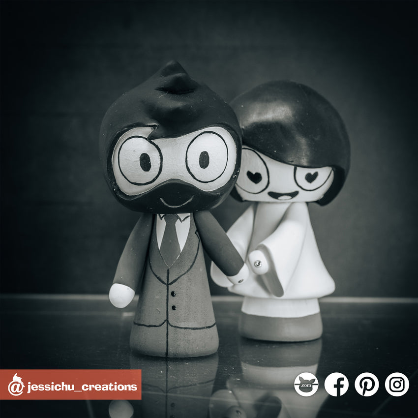 Catana Comics | Custom Handmade Wedding Cake Topper Figurines | Jessichu Creations