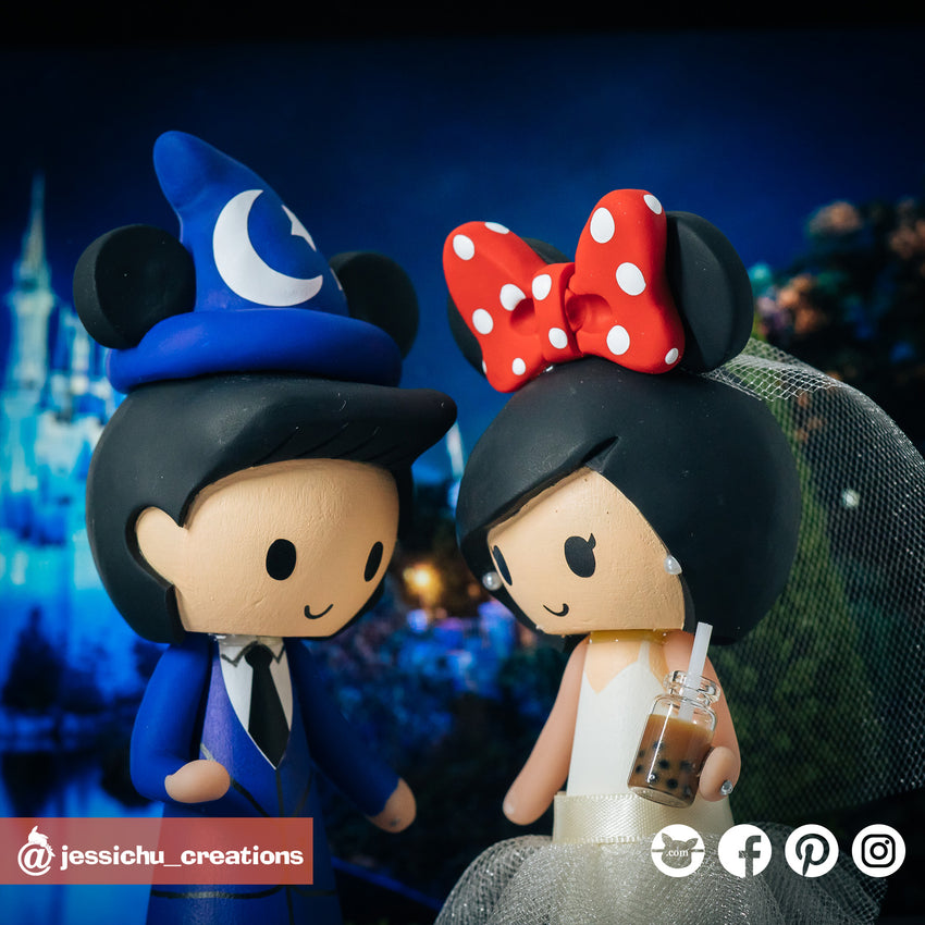 Wizard Mickey & Minnie Mouse | Disney | Custom Handmade Wedding Cake Topper Figurines | Jessichu Creations