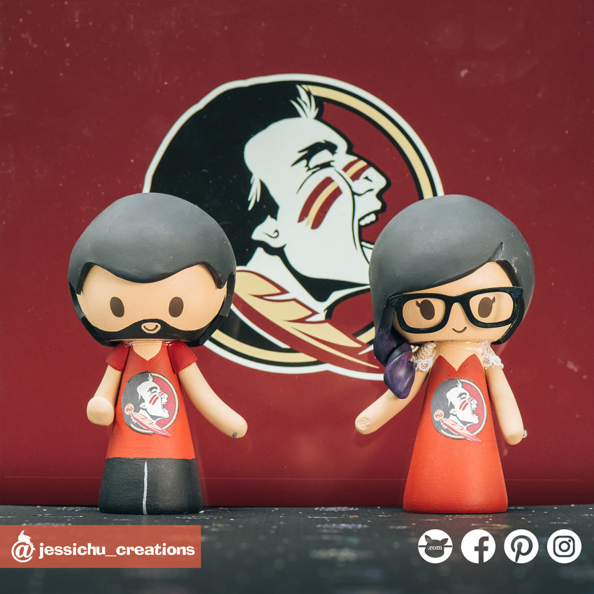 Florida State University Seminoles Couple | Custom Handmade Wedding Cake Topper Figurines | Jessichu Creations