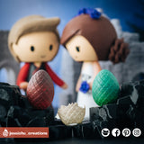 GOT Targaryen & Stark with Dragon Eggs | Game of Thrones | Custom Handmade Wedding Cake Topper Figurines | Jessichu Creations