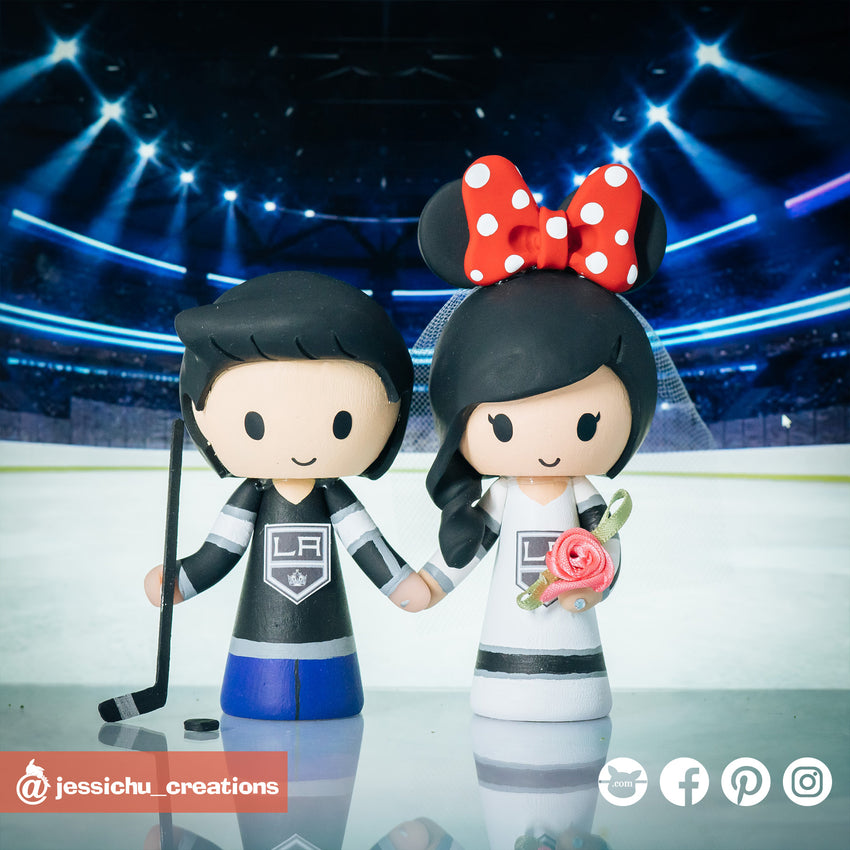 LA Kings | Ice Hockey NHL | Custom Handmade Wedding Cake Topper Figurines | Jessichu Creations