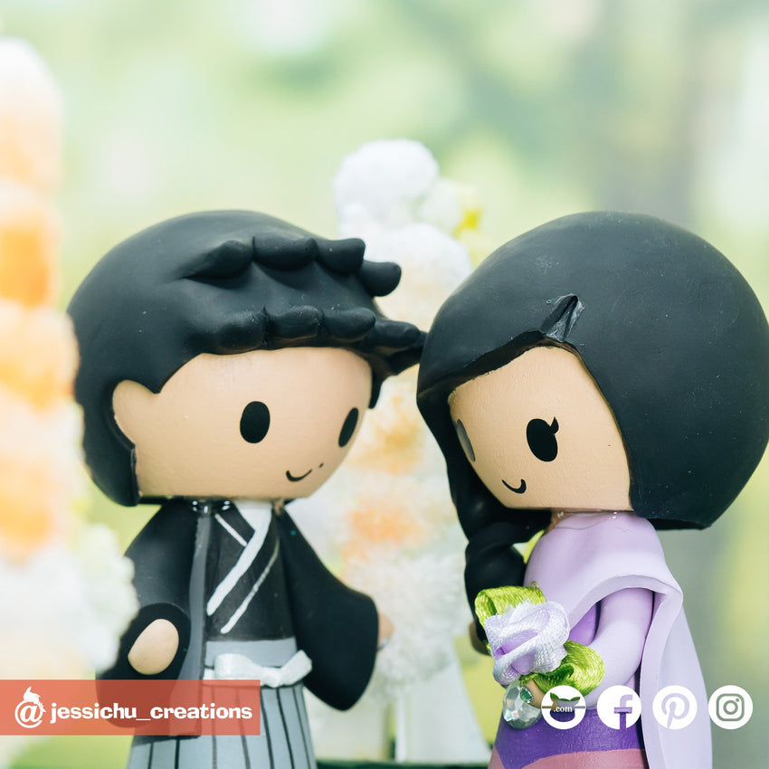 Traditional Japanese Kimono & Thai | Custom Handmade Wedding Cake Topper Figurines | Jessichu Creations