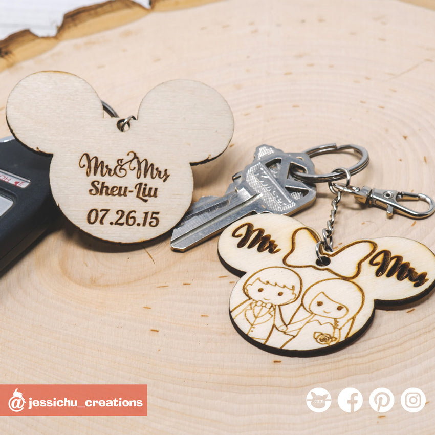 Cute Bride & Groom on Mickey and Minnie Ears Keychain - Wooden Cutout
