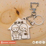 Cute Bride & Groom on House Keychain - Wooden Cutout