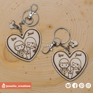 Cute Bride & Groom on Heart Keychain - Wooden Cutout | Wooden Cutouts | Wooden Gallery | Jessichu Creations