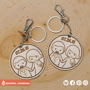 Cute Bride & Groom on Circle Keychain - Wooden Cutout