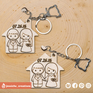 Cute Bride & Groom on House Keychain - Wooden Cutout | Wooden Cutouts | Wooden Gallery | Jessichu Creations