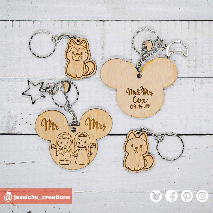 Custom Made Wooden Keychain | Jessichu Creations