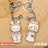 Cute Bride & Groom with Mickey and Minnie Ears Disney Keychain - Wooden Cutout | Wooden Cutouts | Wooden Gallery | Jessichu Creations